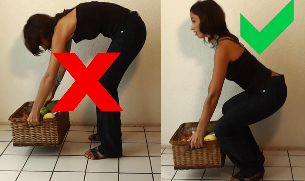 como levantar los objetos para no dañar la columna