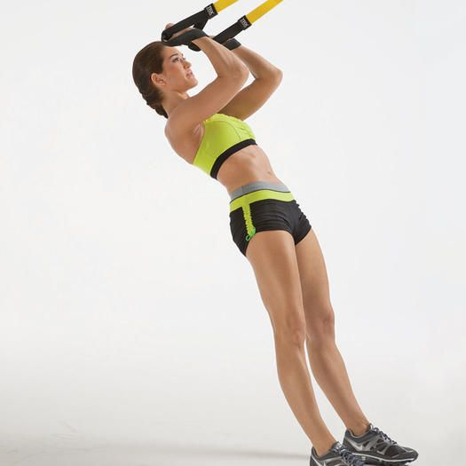 Curl alto de bíceps con TRX